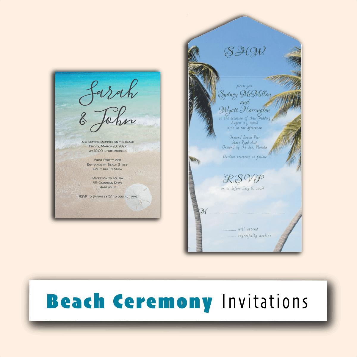 beach ceremony invitations