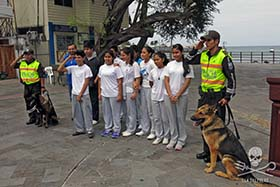 K9 officers with students and Environmental Police. Photo: Sea Shepherd