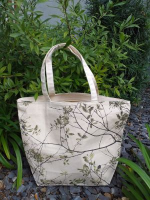 ALT859G Large Zipper Tote Natural Photos Silk Screen