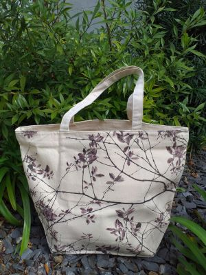 ALT859R Large Zipper Tote Natural Photos Silk Screen