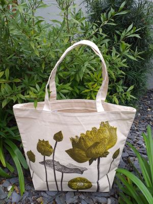 ALT906G Large Zipper Tote Natural Photos Silk Screen