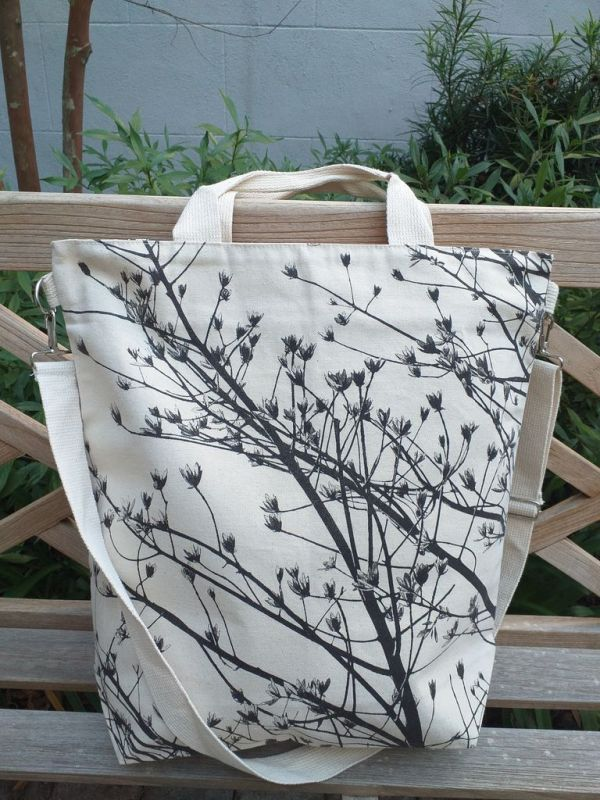 AXT868 Cotton Canvas Silk Screen Cross Body Tote