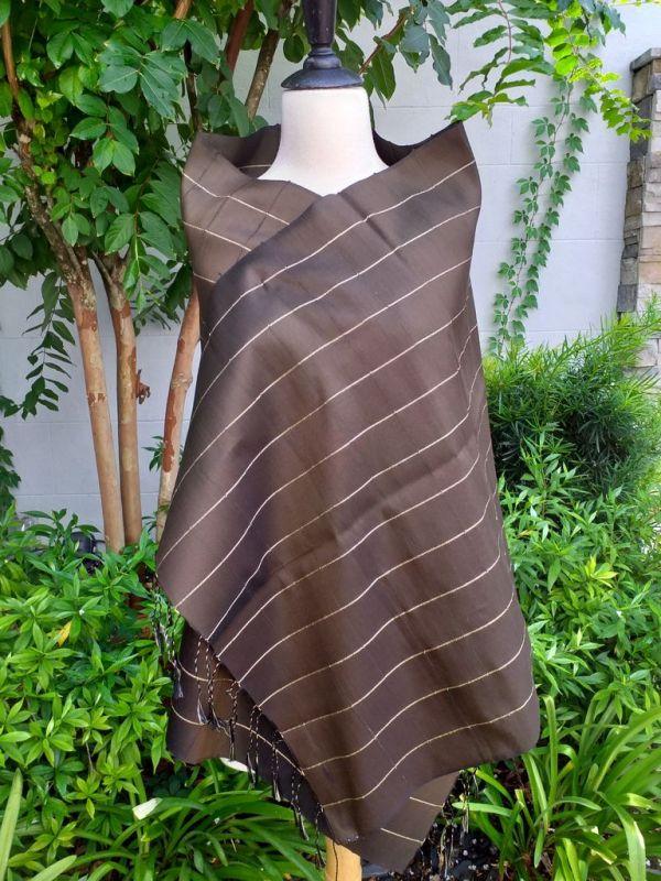 CKS558a Thai 100 Silk Hand Woven Colorful Shawl