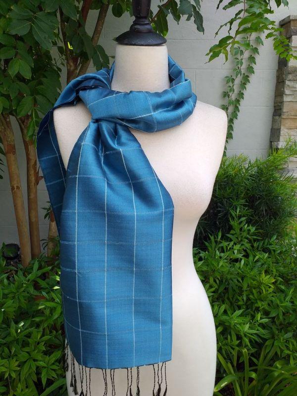 CKS561d Thai 100 Silk Hand Woven Colorful Shawl
