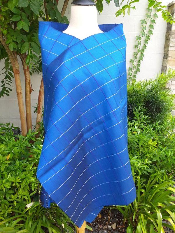 CKS562a Thai 100 Silk Hand Woven Colorful Shawl