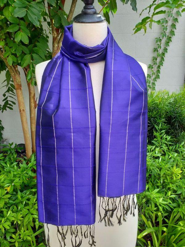 CKS563b Thai 100 Silk Hand Woven Colorful Shawl