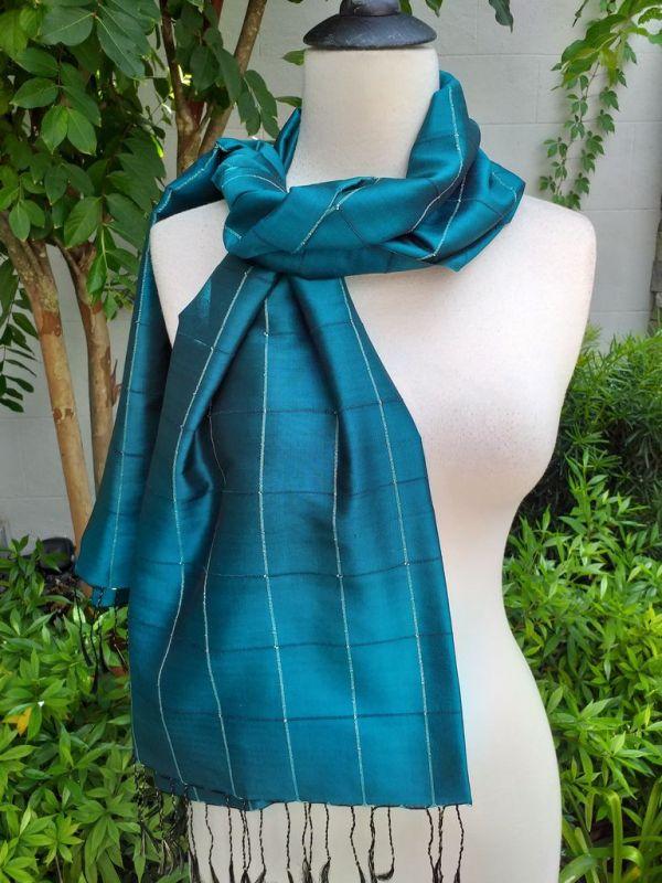 CKS565d Thai 100 Silk Hand Woven Colorful Shawl