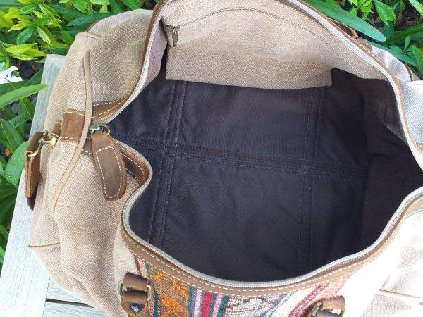 GBD951c Cotton Canvas Duffle Bag Leather Trim