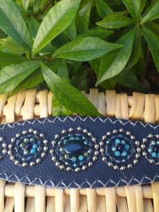 HLB901 Leather Bead Handmade Cuff Bracelet