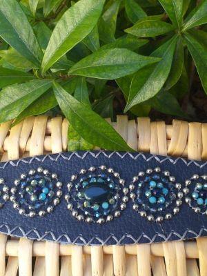 HLB901 Leather Bead Handmade Cuff Bracelet