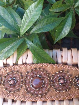 HLB911 Leather Bead Handmade Cuff Bracelet