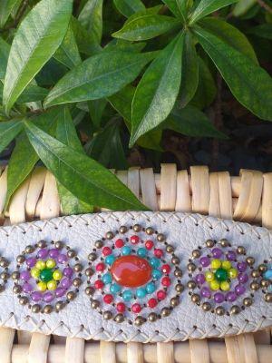 HLB915 Leather Bead Handmade Cuff Bracelet