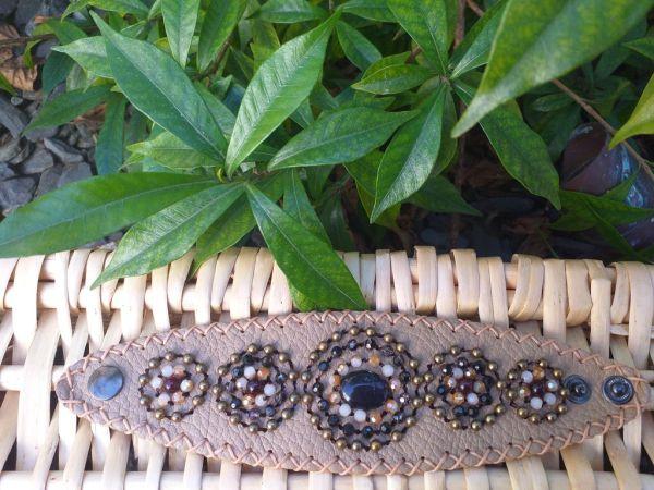 HLB923 Leather Bead Handmade Cuff Bracelet