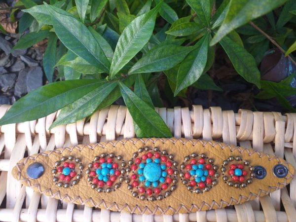 HLB925 Leather Bead Handmade Cuff Bracelet