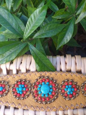 HLB925 Leather Bead Handmade Cuff Bracelet