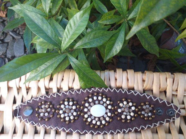 HLB927 Leather Bead Handmade Cuff Bracelet