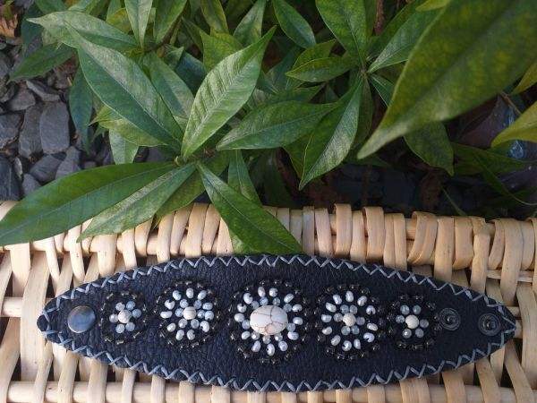 HLB929 Leather Bead Handmade Cuff Bracelet