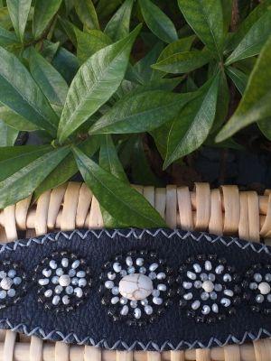 HLB929 Leather Bead Handmade Cuff Bracelet