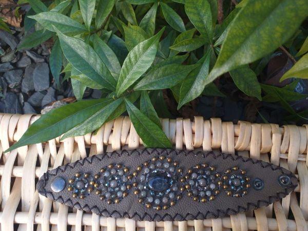 HLB933 Leather Bead Handmade Cuff Bracelet