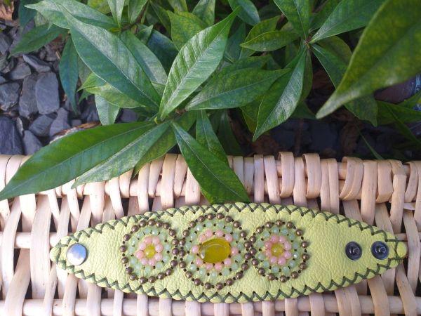 HLB937 Leather Bead Handmade Cuff Bracelet