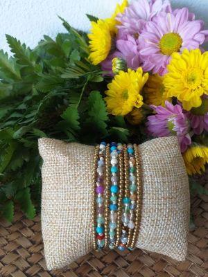 HRB962 Thailand Handmade SemiPrecious Stone Metal Bracelet