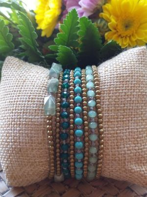 HRB968 Thailand Handmade SemiPrecious Stone Metal Bracelet