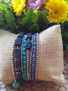 HRB973 Thailand Handmade SemiPrecious Stone Metal Bracelet