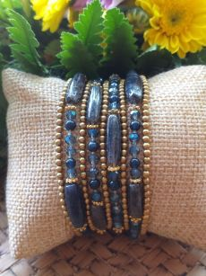 HRB975 Thailand Handmade SemiPrecious Stone Metal Bracelet