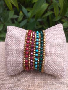 HWB901 Handmade Bead Stone Metal Single Wrap Bracelet
