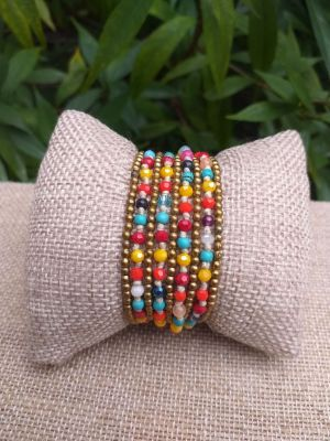 HWB906 Handmade Bead Stone Metal Single Wrap Bracelet