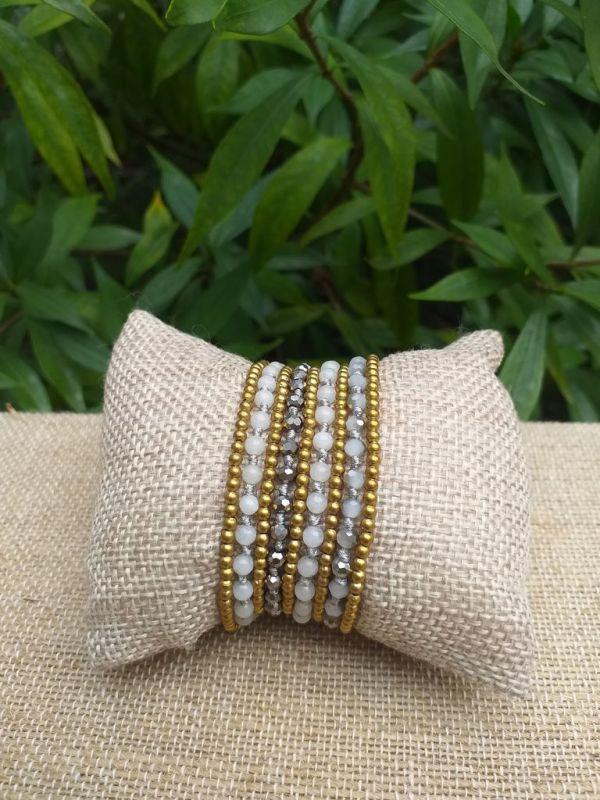 HWB907 Handmade Bead Stone Metal Single Wrap Bracelet