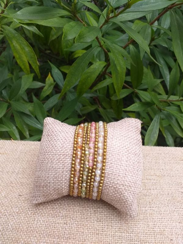 HWB908 Handmade Bead Stone Metal Single Wrap Bracelet