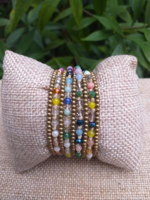 HWB918 Handmade Bead Stone Metal Single Wrap Bracelet