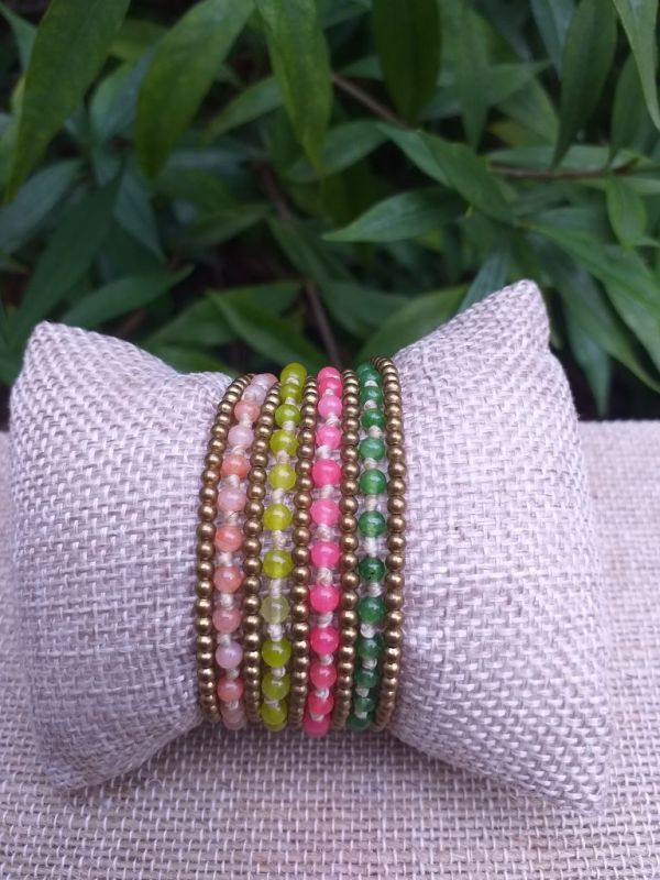 HWB919 Handmade Bead Stone Metal Single Wrap Bracelet