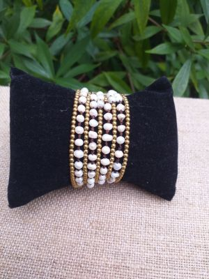 HWB923 Handmade Bead Stone Metal Single Wrap Bracelet