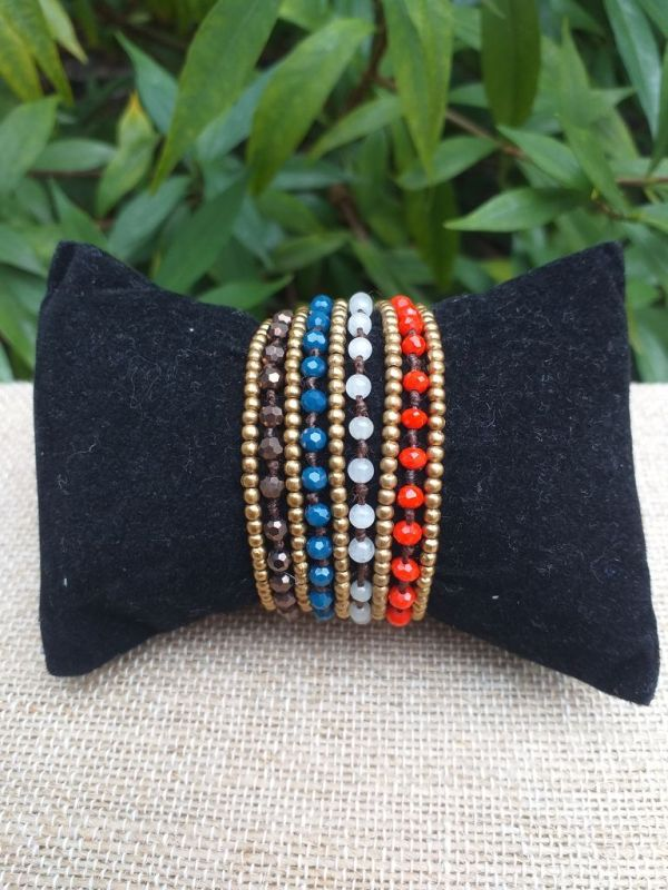 HWB925 Handmade Bead Stone Metal Single Wrap Bracelet