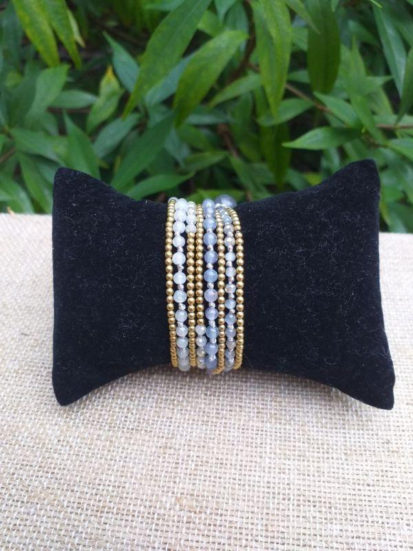 HWB929 Handmade Bead Stone Metal Single Wrap Bracelet
