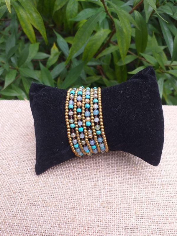 HWB930 Handmade Bead Stone Metal Single Wrap Bracelet