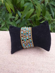 HWB930 Handmade Bead Stone Metal Single Wrap Bracelet