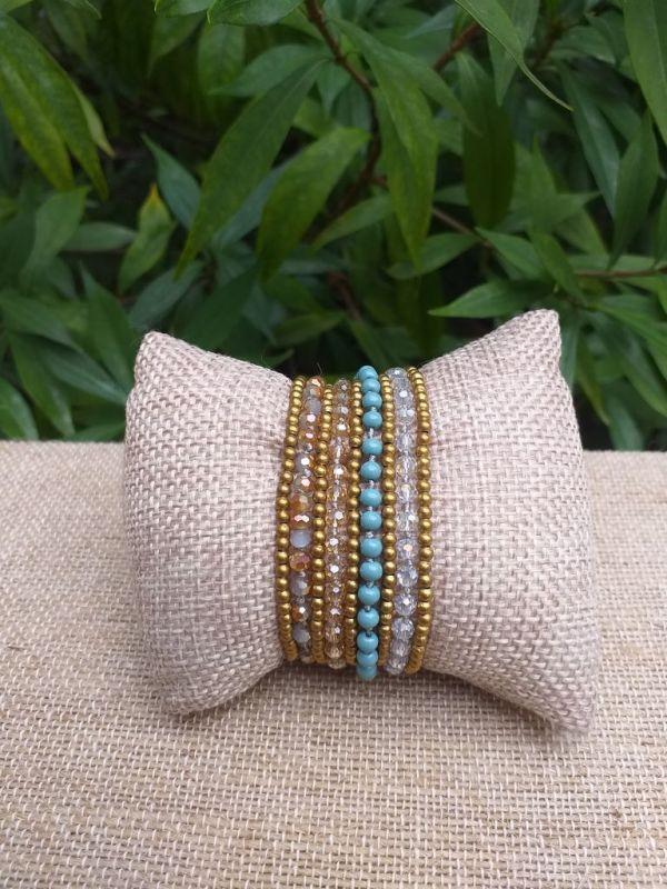 HWB933 Handmade Bead Stone Metal Single Wrap Bracelet