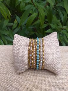 HWB933 Handmade Bead Stone Metal Single Wrap Bracelet