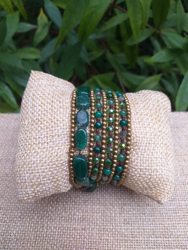 HWB938 Handmade Bead Stone Metal Single Wrap Bracelet