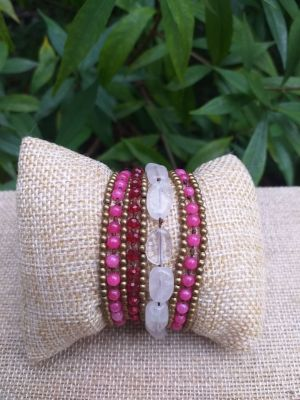 HWB940 Handmade Bead Stone Metal Single Wrap Bracelet