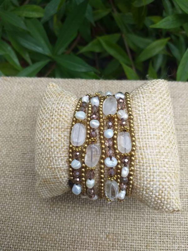 HWB947 Handmade Bead Stone Metal Single Wrap Bracelet