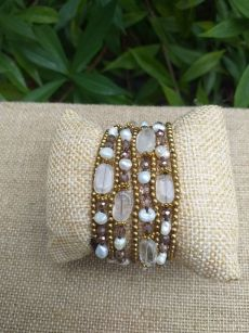 HWB947 Handmade Bead Stone Metal Single Wrap Bracelet