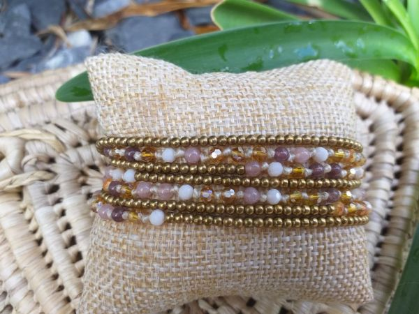 HWB951 Handmade Bead Stone Metal Single Wrap Bracelet