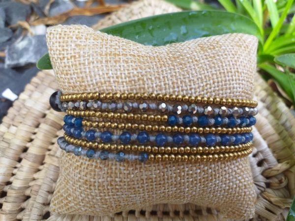 HWB955 Handmade Bead Stone Metal Single Wrap Bracelet