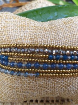 HWB955 Handmade Bead Stone Metal Single Wrap Bracelet