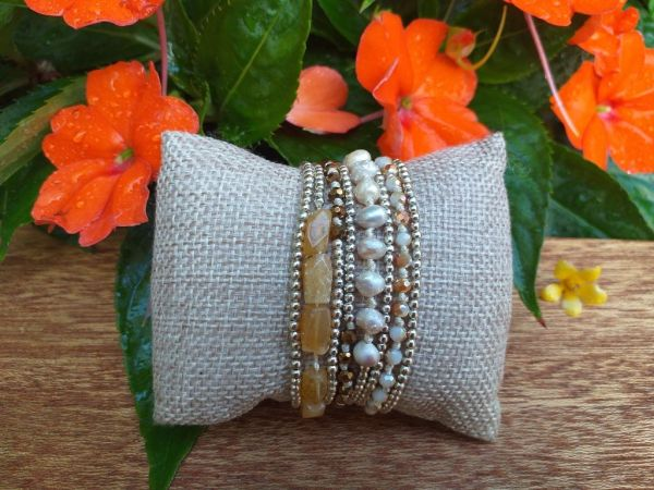 HWB956B Thailand Unique Stone Metal Bead Bracelet