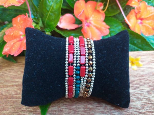 HWB959B Thailand Unique Stone Metal Bead Bracelet